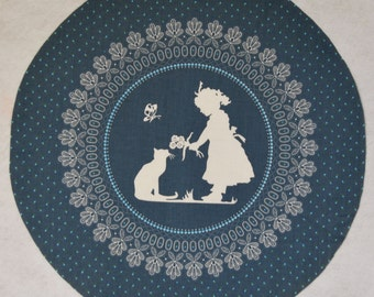 Girl with Cat Silhouette Print Circle Cut