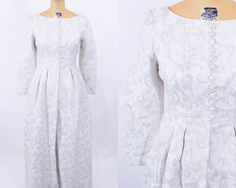1960s formal dress | white silver Ceil Chapman imperial brocade dress | vintage 60s dress | W 27""