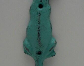 Dog Hook Cast Iron Shabby Chic Turquoise Leash Hook Home Decor