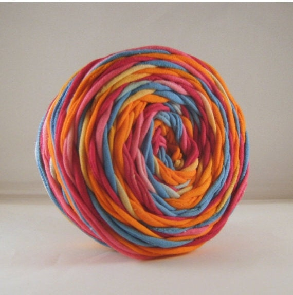 T-Shirt Yarn - Hand Dyed -  Summer - Aqua Pink Orange - Chunky Yarn - Rugmaking - Jersey Yarn - 60 Yards - Tshirt Yarn - T shirt Yarn