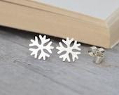 snowflake earring studs, winter earrings, weather forecast earring studs handmade in sterling silver