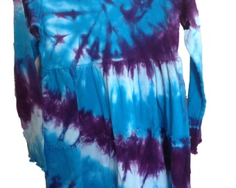 Tie Dyed Turquoise and Deep Purple Spiral Long Sleeve Girls 3  Tier Single Lettuce Edge Dress