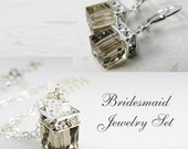 Smoky Quartz Swarovski Crystal Jewelry Set, Sterling Silver, Gray Cube Necklace and Earrings, Grey Wedding Bridal Party Gift, Handmade