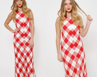 Vintage 70s PLAID Maxi Dress SLEEVELESS Fitted Red & White Checker Dress Linen Maxi Dress