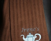 Embroidered Kitchen Towel- Teapot with Personalization-BROWN