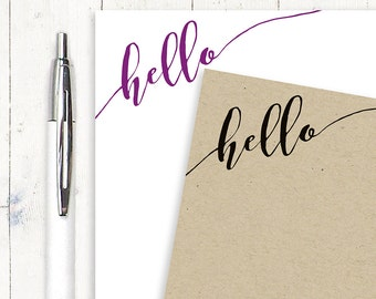 personalized notePAD - HELLO CALLIGRAPHY - stationery - stationary - fun notes