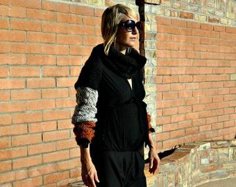 Black Shrug-Womens Shrugs-Shrug-Knit Shrug-Bolero Shrug-Bolero-Long Sleeve Shrug-Tri Color Grey & Rust-Hand Knitted-Handmade USA Maternity