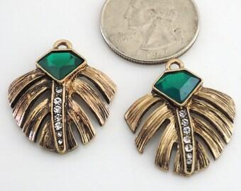 Art Deco Earrings Leaf Earring Findings Emerald Green Rhinestone Antique Gold Vintage Style Drop Pendant Charm Jewelry Component