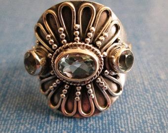 RING  - Triple - Wide -  BLUE TOPAZ  - Ornate - 925 - Sterling Silver - size 8 1/2    blue406