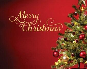 Merry Christmas vinyl lettering for door window - Christmas wall decal - Happy Holidays - Seasons Greetings - December 25 - Vinyl Wall Word