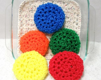 Pot Scrubbers, cleaning aids, kitchen scour pad, bakeware scrubbie, home cleaning aid. Brights Collection in a 5pk.