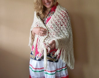 Crochet shawl, Crochet wrap, knit shawl, knit wrap, Beige wrap, osfm