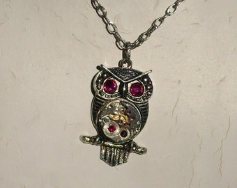 Steampunk Goddess Athena Owl Fuchsia Necklace Vintage Watch Movement