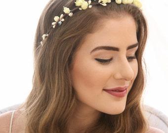 Yellow Flower Crown, Vintage Floral Headband Boho Wedding Headpiece of Vintage Flowers Bridal Flower Wreath in Yellow Blue Pink or Ivory