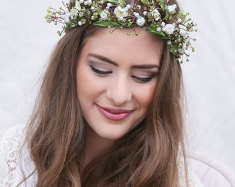 wedding Flower Crown Rustic Flower Crown of Green Beads, Leaves and Beaded Flowers, Boho Wedding Floral Halo Wreath Floral Hair Bridal