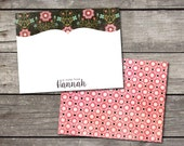 Personalized Set of 10 Floral Notecards for Teacher Gift Coworker Gift Thank You Notes or Personal Stationery
