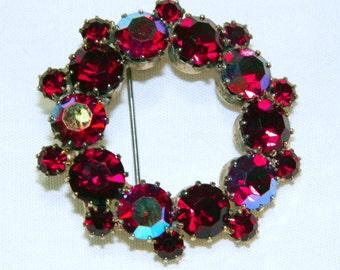 Dazzling Vintage Circle Brooch/Pin - 1940s Sparkling Bright Ruby-Red Rhinestones, Garnets (?), Bold & Bright Hippie BoHo Costume Accessory
