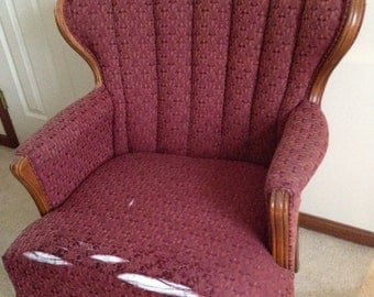 Vintage Mid Century Channel Back Wing Back Chairs - One Chair (4 Available) - FREE LOCAL PICKUP