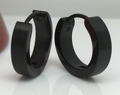 Men's hoop earrings, wicked espresso hoop earrings, large hoops, black steel hoop earrings, men's earrings, semi matte finish, large 192A