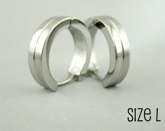 Men's hoop earrings, double stacked hoop earrings for men, stainless steel hoops, large hoop earrings, 191