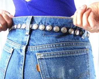concho belt / thin / purple / silver / M L