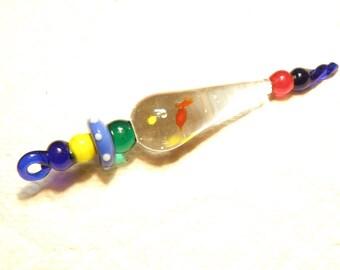 DESTASH - Very Large Primary Colors Lampwork Glass Pendant Charm
