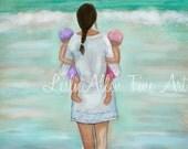 """Mother Children Twins  Girls Art Print Wall Art Kids Sister Beach Mom Daughter Son Beach Theme """"FUN GIRLS"""" Leslie Allen Fine Art"""