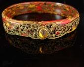 Reserved for Mary Ann Vintage Jeweled Bracelet czech deco Celluloid Swirl Rare beauty bangle Garnet citrine in brass filigree