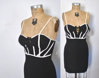 Black Mini Dress / corset / 1990s party club / S-M