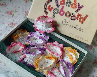 10 Vintage Hand Crocheted Nut Cups in Candy Cupboard Chocolate Box