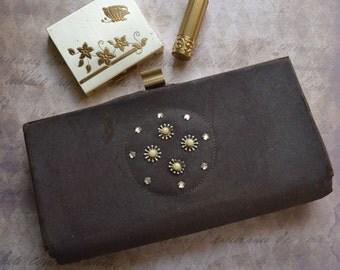Vintage Brown Clutch Purse with Rhinestones Powder Box & Lipstick Case
