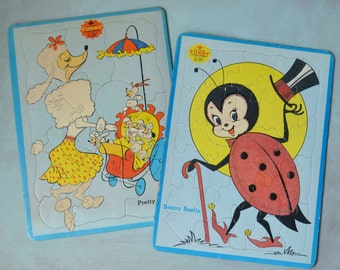 Vintage Sta-N-Place Furry Inlaid Tray Puzzles Benny Beetle & Pretty Poodle