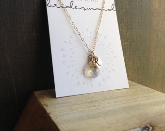 Will You Be My Bridesmaid Necklace with Initial Swarovski Crystal Briolette in 14k Gold or Sterling Silver