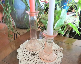 PInk Glass Candleholders or Vases, Vintage Pair Different Heights