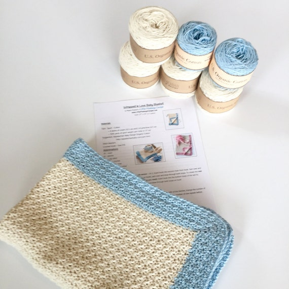 Crochet Patterns For Cotton Yarn : Baby Blanket Crochet Kit PATTERN and organic cotton Yarn