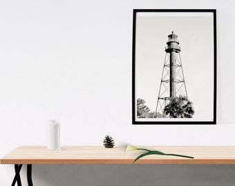 Black & White Lighthouse with Palm