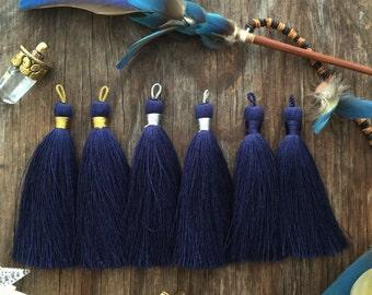 "Navy Blue, 3"" Luxe Silk Tassels, Handmade Jewelry Tassels, Long Tassels, Designer Jewelry Making Supplies / Choose Binding Finish, 2pcs"