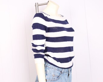 vintage 70s blue + white stripe sweater nautical stripe space dye top 1970s slouchy knit size small