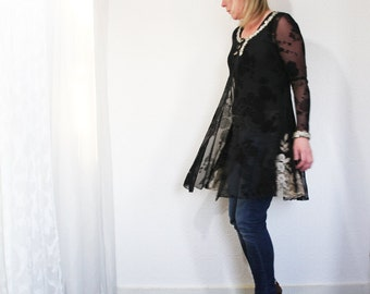upcycled clothing . S - M . lace daycoat . night sky