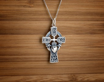 Celtic Cross with Claddagh - STERLING SILVER - (Pendant, or Necklace)