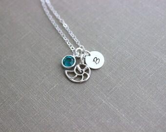 Nautilus Sea Shell Charm Necklace, Sterling Silver Sea Life Jewelry Personalized Initial Charm, Swarovski Crystal birthstone Necklace Custom