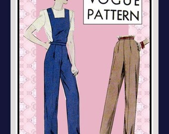 Vintage 1942-ROSIE THE RIVETER-Bib Overalls-Slacks-Vogue Sewing Pattern-Square Bib-Tapered Pants-Size 12-Mega Rare-Very Collectible