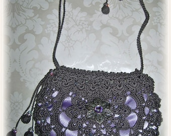 Silk Crochet Evening Bag Clutch Purse - Pewter #46 with violet brocade lining Swarovski Crystals