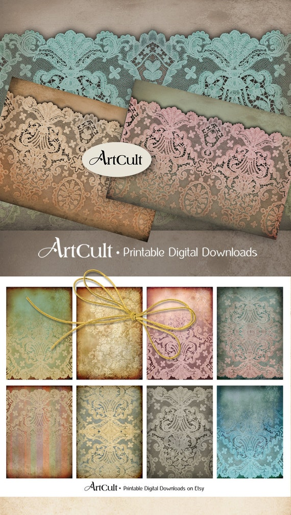 Printable paper VICTORIAN LACE Digital Collage Sheets Scrapbooking Backgrounds Jewelry Holders Vintage Paper Craft downloadable gift tags