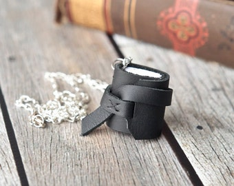 Mini Leather Journal Necklace in Black, Book Pendant