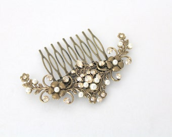 Antique gold hair comb, Vintage style headpiece, Antique brass hair accessory, Swarovski crystal hair comb, Rhinestone hair comb, Hair pin