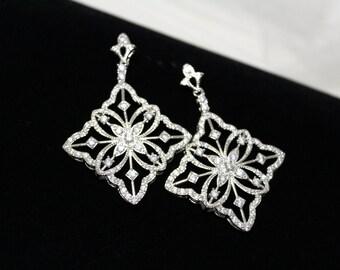 Crystal Wedding earrings, Bridal earrings, Rhinestone earrings, Bridal jewelry, Art Deco earrings, Silver earrings, Vintage style earrings