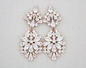Rose Gold Wedding earrings, Crystal Bridal earrings, Chandelier earrings, Bridal jewelry, Swarovski earrings, Statement earrings, Rhinestone