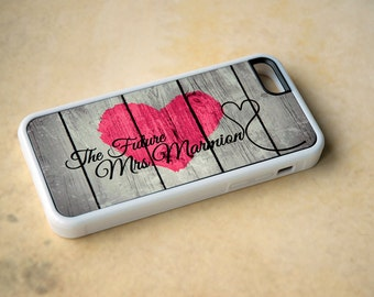 Personalized Rustic Wood Phone Case, Future Mrs Phone Case, Samsung Galaxy S4 Case, iPhone 6 Silicone Case, Custom Phone Case Pink