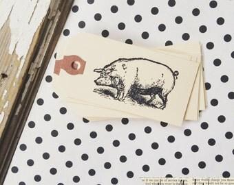 10 pig manila gift tags